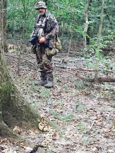 Canebrake rattlesnake with Frank for scale.